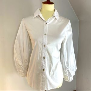 Sunday in Brooklyn Peasant White Button Down Shirt